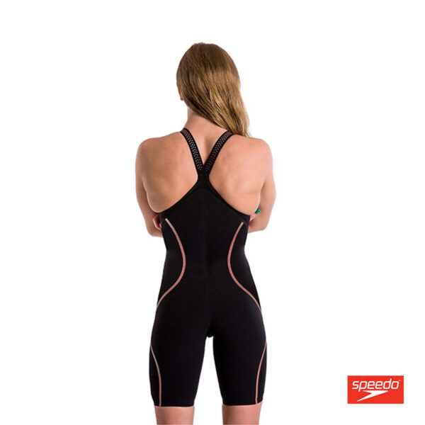 Swimtek Female LZR Intent Closed Back Black Gold BACK