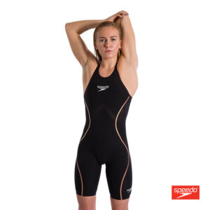 Swimtek Female LZR Intent Open Back Black Gold FRONT