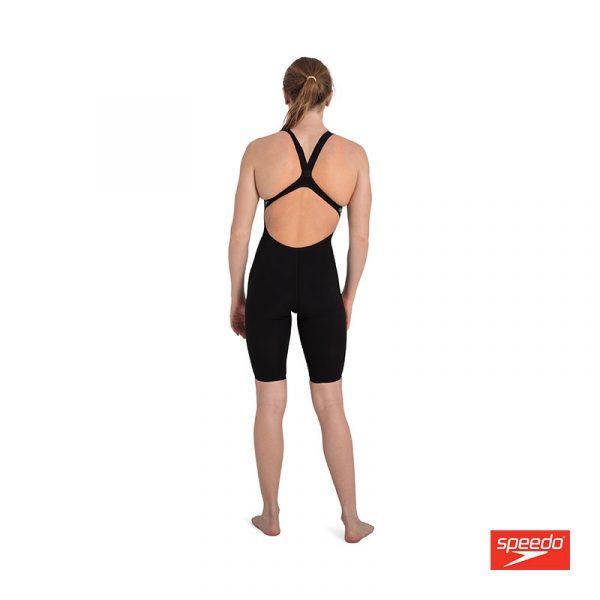 Swimtek Female Swimwear Fast Skin LZR Pure Intent Black Fluro Yellow Open Back BACK
