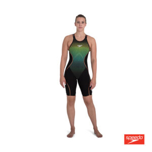 Swimtek Female Swimwear Fast Skin LZR Pure Intent Black Fluro Yellow Open Back FRONT
