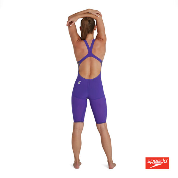 Swimtek Female Swimwear Fast Skin LZR Pure Intent Violet Fluro Yellow Open Back BACK