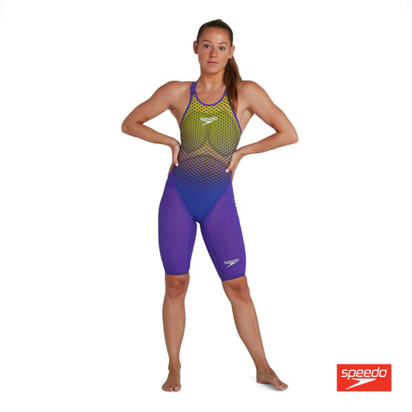 Swimtek Female Swimwear Fast Skin LZR Pure Intent Violet Fluro Yellow Open Back FRONT