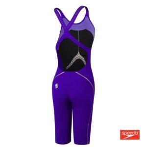 Swimtek Female Swimwear Fastskin LZR Pure Intent Openback Kneeskin Purple Yellow Back