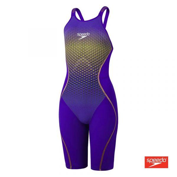 Swimtek Female Swimwear Fastskin LZR Pure Intent Openback Kneeskin Purple Yellow Front